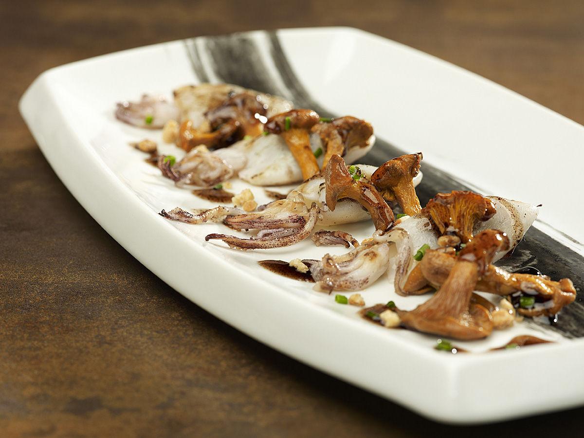 calamarcets de palamós, rosinyols i vainilla