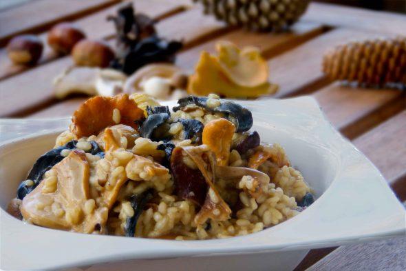 arròs cremós amb bolets i castanyes
